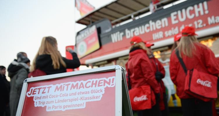 Coca-Cola Sponsor of the Day beim Länderspiel in Leipzig. Organisiert von W-com.