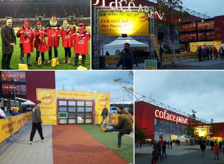 W-com organisiert für Entega Sponsor of the Day beim Spiel Mainz gegen Dortmund. Auf dem Bild die glücklichen Gewinner mit handsignierten Trikots sowie die Aktionsfläche von Entega direkt vor der Coface-Arena.
