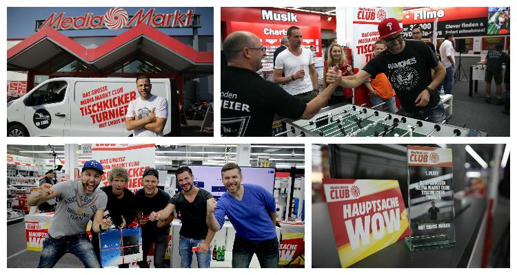 Das große Media Markt Club Tischkickerturnier: Bundesweite Promotion mit dem 11-fachen Weltmeister Chris Marks und W-com